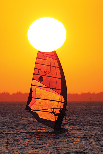 Windsurfing on Biscayne Bay at Sunset