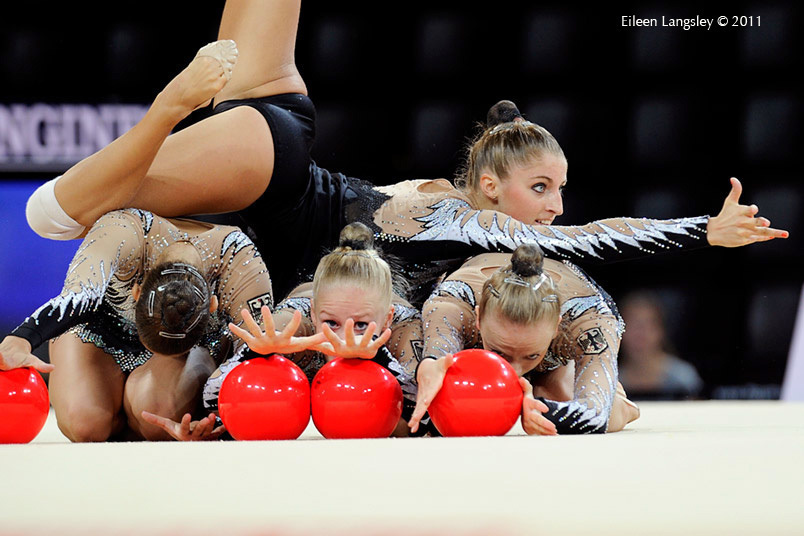 The group from Germany at the World Rhythmic Gymnastics Championships in Montpellier.
