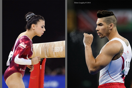 England's Claudia Fragapane and Louis Smith clear away the excess chalk dust before competing during the Gymnastics competition of the 2014 Glasgow Commonwealth Games.