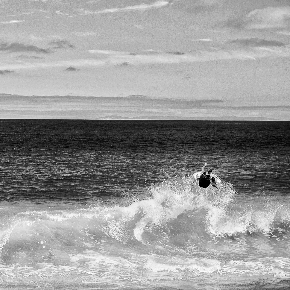 Skimboarding at Aliso Beach.