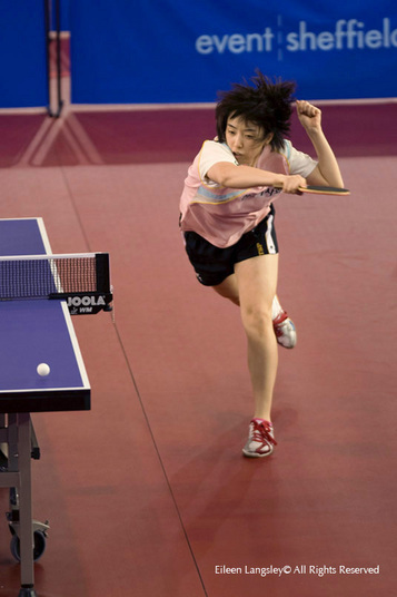 An attacking move from Suh Hyo Won (Korea) at the 2009 English Open Table Tennis Championships at the English Institue of Sport, Sheffield.