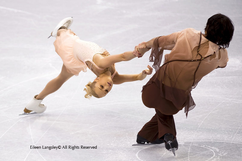 Vera Bazarova and Yuri Larionov (Russia) perform a death spiral during the Pairs skating competition at the Vancouver Winter Olympics.