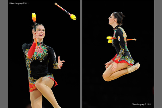 Carolina Rodriguez (Spain) competing with Clubs at the World Rhythmic Gymnastics Championships in Montpellier.