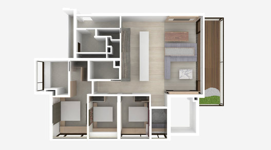 3D Plan of a contemporary luxury residential condominium home interior in Ardmore III in Singapore designed by AND lab.