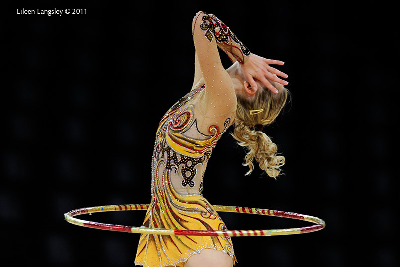 Caroline Weber (Austria) competing with Hoop at the World Rhythmic Gymnastics Championships in Montpellier.