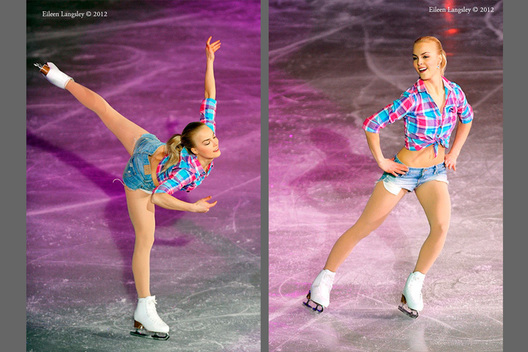 Kirii Korpi (Finland) performs a routine in the exhibition at the 2012 European Figure Skating Championships at the Motorpoint Arena in Sheffield UK January 23rd to 29th.