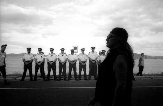 ©Tamara Voninski. Policemen gather near a church where New Zealand Prime Minister Helen Clark was meeting with Maori elders to discuss proposed changes to legislation regarding Maori rights regarding the coastline and seabed in New Zealand. Protesters later heckled the Prime Minister for turning her back on the Maori people and the original Treaty of Waitangi.  In 2005, the New Zealand government passed the controversial Seabed and Foreshore legislation to prevent Maori from claiming exclusive ownership of New Zealand2019s resource rich coastline and seabed. The Maori traditionally see themselves as caretakers of the land and coastline.  The Maori population is approximately 530,000 of four million New Zealanders.