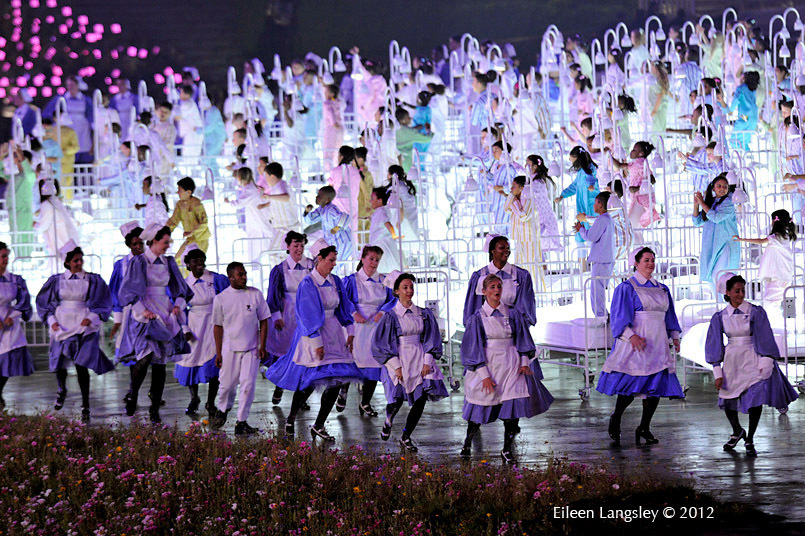 The NHS celebrations during the Opening Ceremony at the London 2012 Olympic Games.