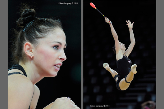A portrait and action image of Daria Kondakova (Russia) during training at the World Rhythmic Gymnastics Championships in Montpellier.