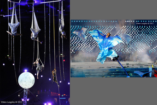 Aerial dancers perform during the Opening ceremony of the London 2012 Paralympic Games.