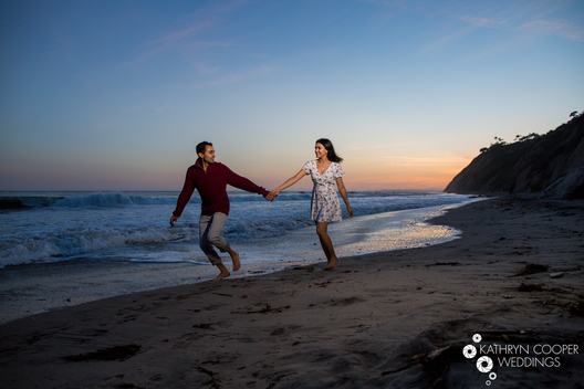 Beach sunset engagement photos in southern california, Malibu engagement photographer