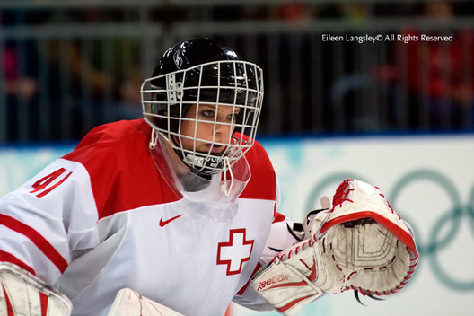 Switzerland's goalkeeper Florence Schelling is ready for anything in their women's ice hockey match against China