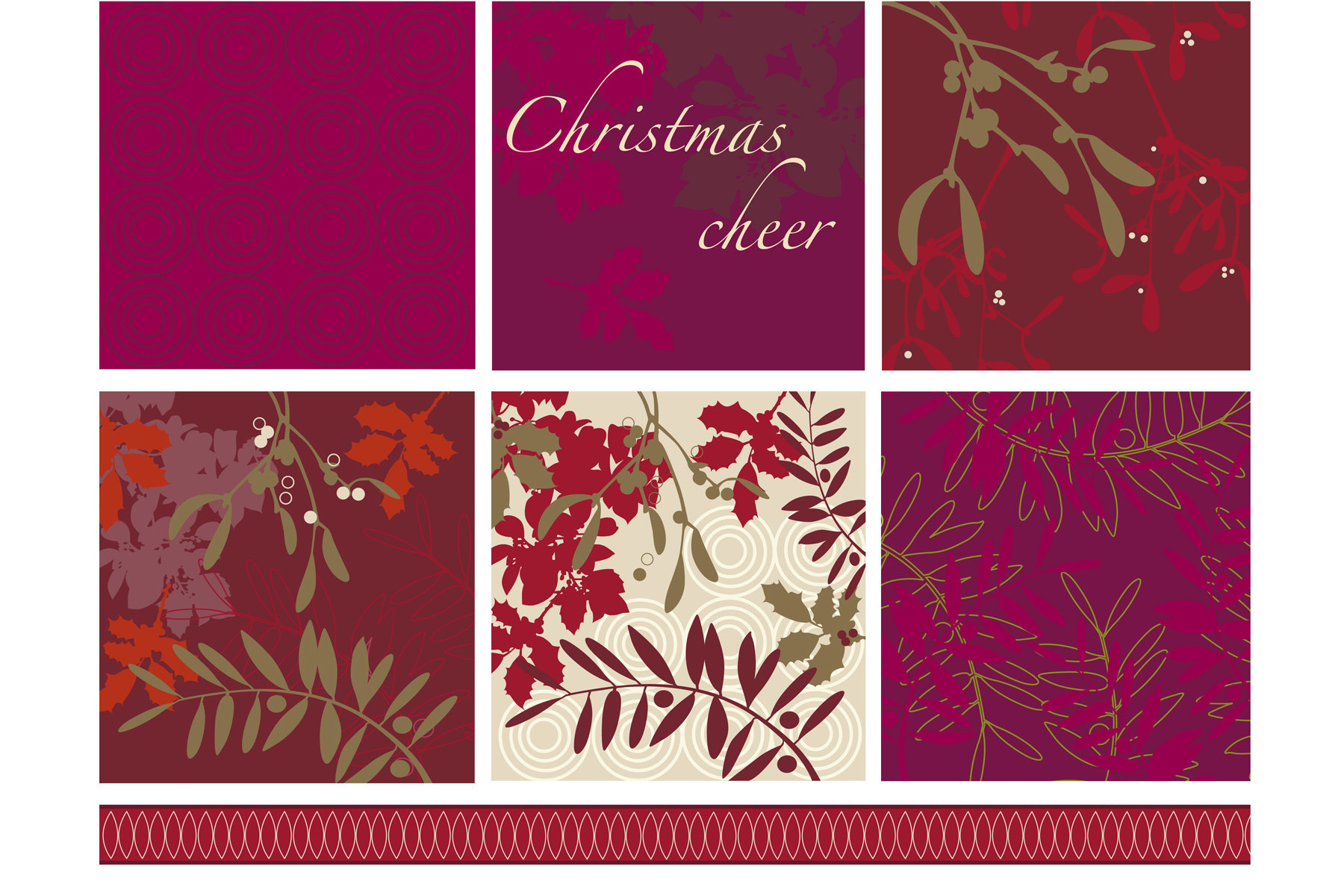 A Traditional Christmas scheme. For use on seasonal decor, packaging and paper goods.