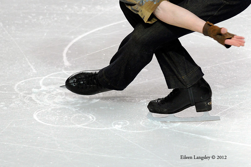 A generic image of the feet of a skater competing at the 2012 European Figure Skating Championships at the Motorpoint Arena in Sheffield UK January 23rd to 29th.