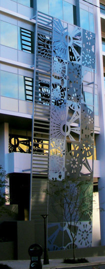 powder coated, laser cut aluminium screen - 2008