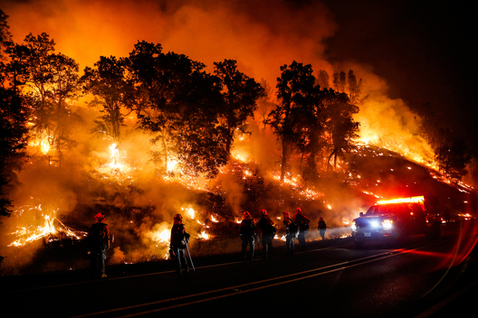 Firefighters with the Marin County Fire Department's Tamalpais Fire Crew monitor a backfire as they battle the Valley Fire on September 13, 2015 near Middletown, California. The fast-moving fire has consumed 50,000 acres after growing 40,000 acres in twelve hours and is currently zero percent contained.