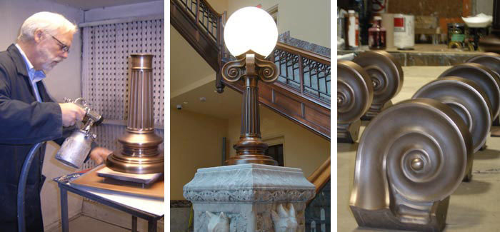 Left: clear matte lacquer over antique oxidized finish. Middle: Newel post lantern final Installation. Right: Doric details, solid cast bronze
