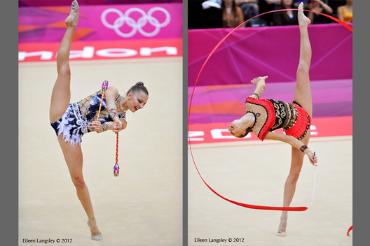 Melitina Staniouta (Belarus) left and Joanna Mitrosz (Poland) right demonstrate perfect balance and suppleness while competing in the Rhythmic Gymnastics competition of the London 2012 Olympic Games.