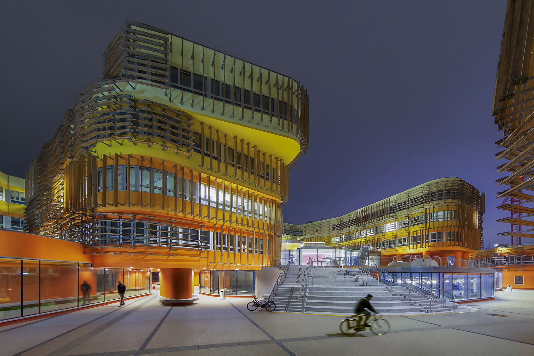 Award winning series of CRAB Studios colourful building for the Vienna University.