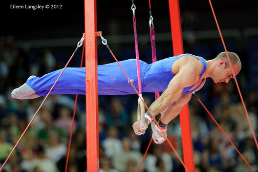 Matteo Morandi (Italy) competing on Rings during the team competition of the Gymnastics event at the 2012 London Olympic Games.