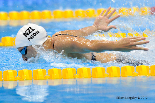 Sophie Pacoe (New Zealand) competing in the women's 100 metres butterfly S10 at the London 2012 Paralympic Games.