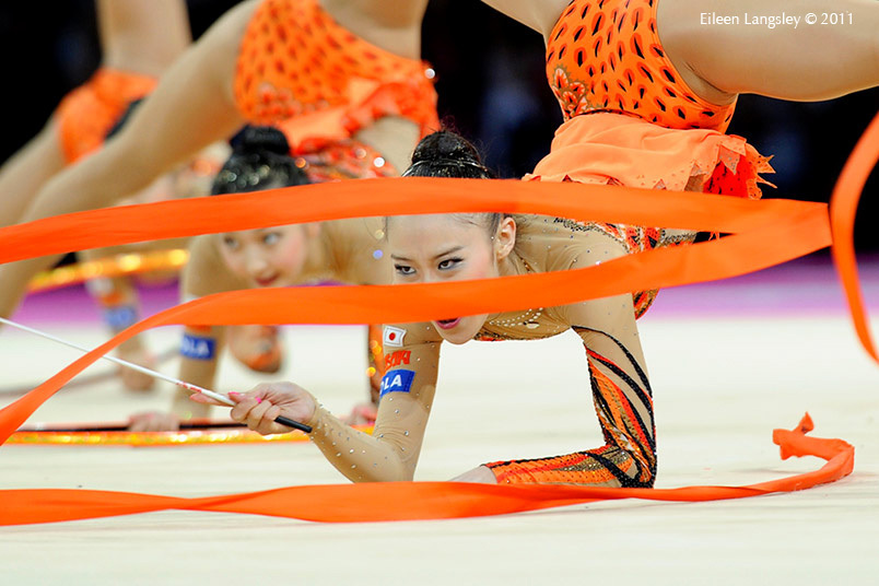 The Japanese group competing at the World Rhythmic Gymnastics Championships in Montpellier.