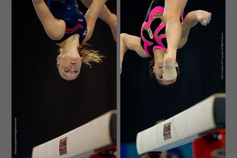 A double close up image of gymnasts Sanne Wevers (Netherlands) left and Ana Maria Izurieta (Spain) right, showing total concentration as they compete on the Balance beam at the 2009 Glasgow Grand Prix