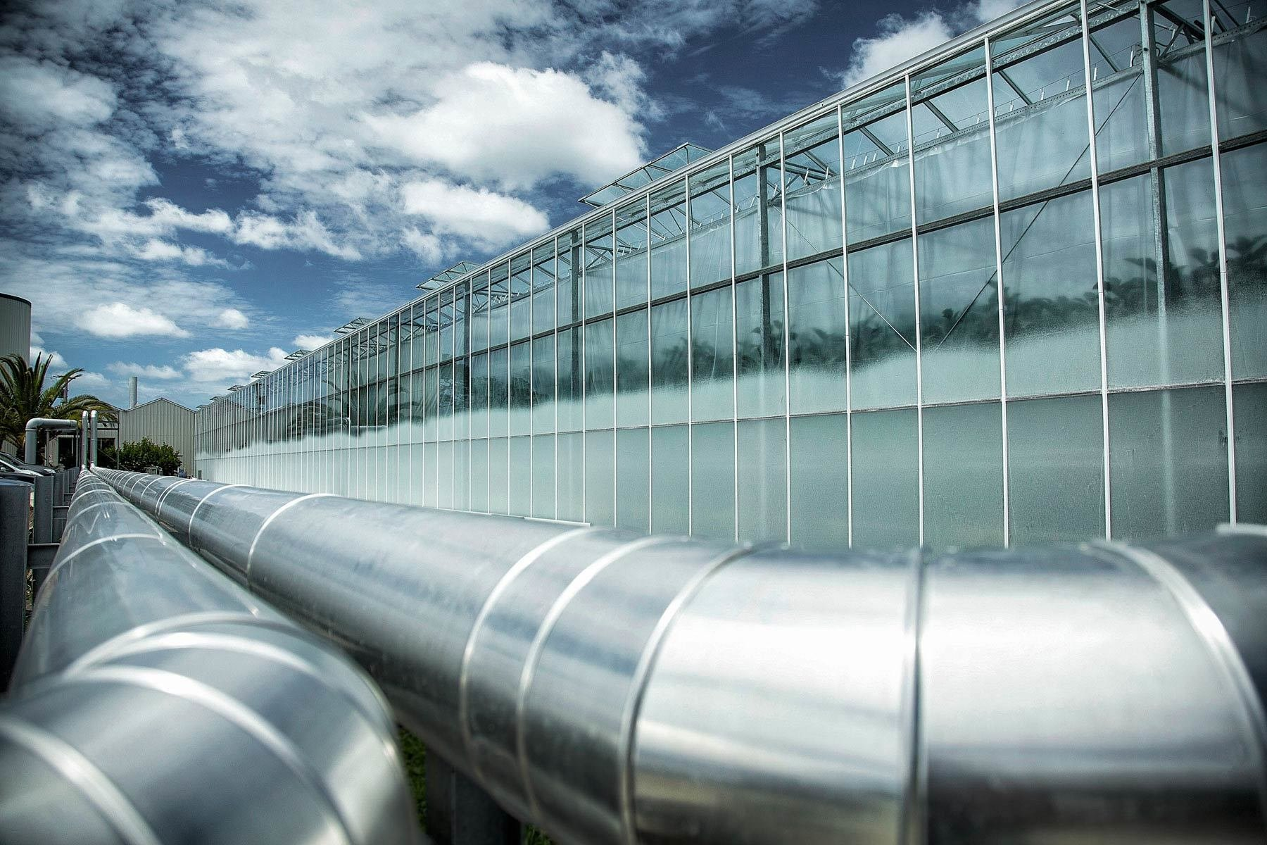 Heated water exchange pipes  which run between Forestburg Eggplants and Redvale Energy Park