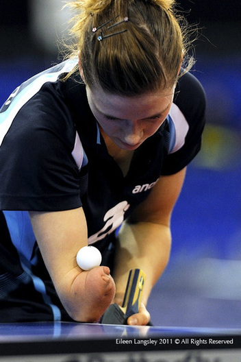 Natalya Partyka (Poland) shows that a disability is no set back at international level when she competes in the 2011 English Open Table Tennis Championships in Sheffield.