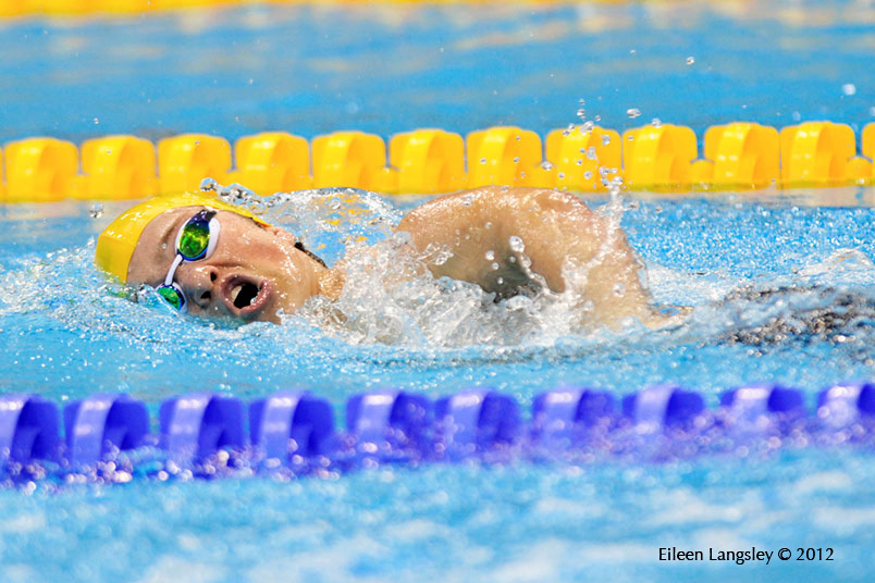 reagan Wickens (Australia) competing in the men's 400 metres freestyle S6 at the London 2012 Paralympic Games.