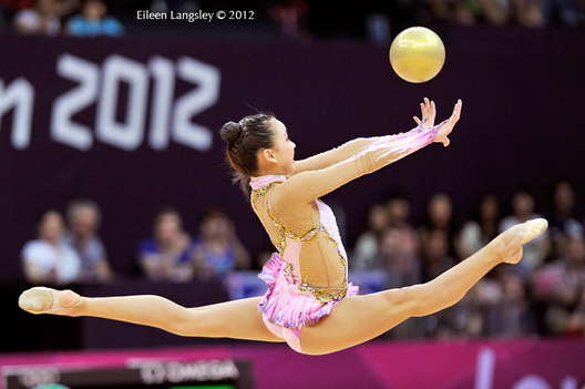 Yeon Jae Son (Korea) competing with Ball during the Rhythmic Gymnastics competition of the London 2012 Olympic Games.