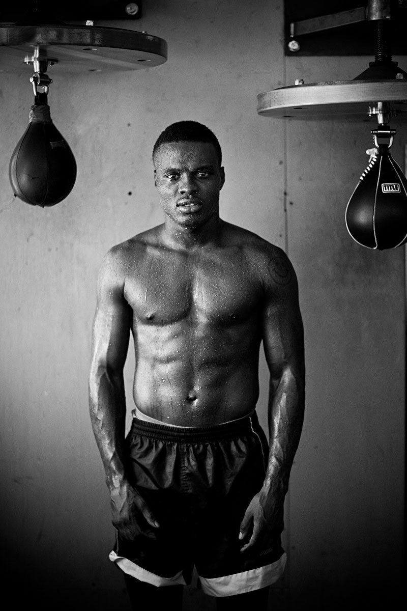 Former WBO Middleweight World Champion Kid Chocolate photographed at The Wildcard Boxing Gym, Hollywood, Ca.
