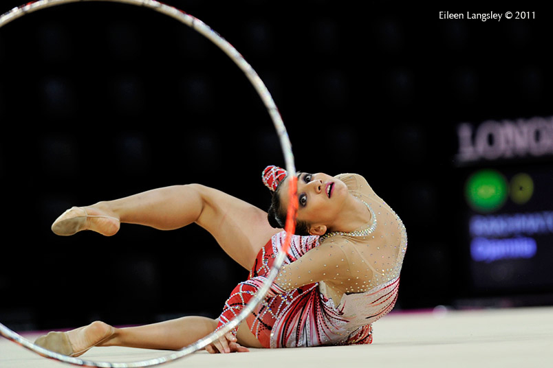 Djamila Rakhmativa (Uzbekhistan) competing with Hoop at the World Rhythmic Gymnastics Championships in Montpellier.