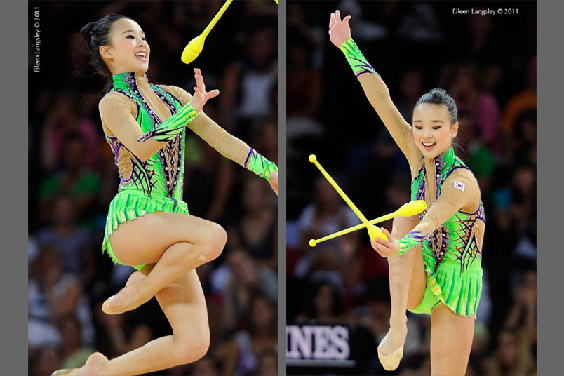 Yeon Jae Son (Korea competing with Clubs at the World Rhythmic Gymnastics Championships in Montpellier.