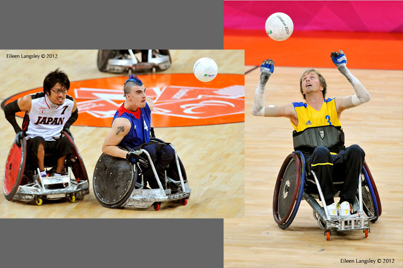 Players stay focussed on the ball during action from the Sweden v Canada and the Great Britain v Japan Wheelchair Rugby matches at the London 2102 Paralympic Games.