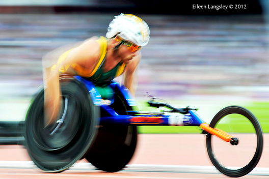 A generic blurred motion image of Kurt Fearnley (Australia) competing in the 5000 metres T54 race in the Athletic competition at the London 2012 Paralympic Games.