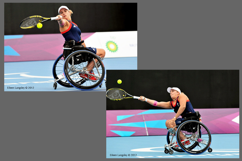 Lucy Shuker (Great Britain) at full stretch on the forehand and the backhand during her first roound singles match in the women's wheelchair Tennis competition at the 2012 London Paralympic Games.