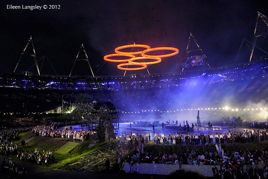 The Olympic Rings are illuminated above th stadium during the Opening Ceremony at the London 2012 Olympic Games.