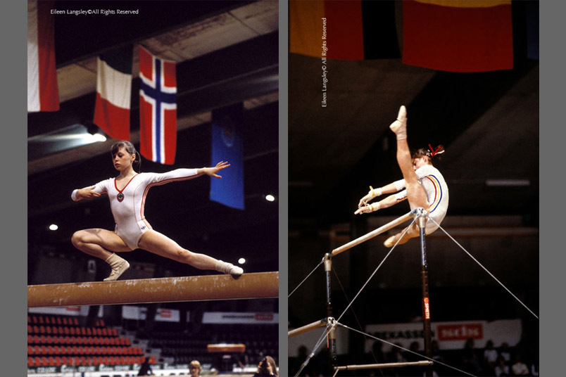 A double image of all time great gymnasts Elena Moukhina (USSR) left and Nadia Comaneci (Romania) right competing in the 1979 European Gymnastics Championships in Copenhagen, on Balance beam and Asymmetric Bars respectively.