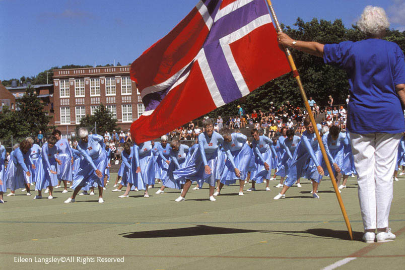 A group of over seventies ladies from Norway perform an outdoor display at the Gothenburg Gymnaestrada.