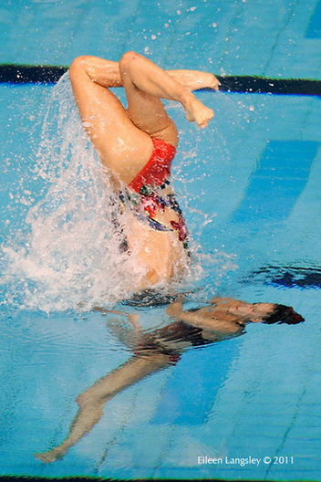 Ona Carbonell and Andrea Fuentes (Spain) compete in the Duet section of the European Synchro Champions Cup atPonds Forge International Sports Centee in Sheffield May 2011.