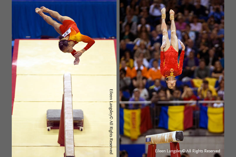 Yang LinLin and Deng Linlin (China) perform difficult and risky somersaults on Balance Beam at the 2009 London World Artistic Gymnastics Championships