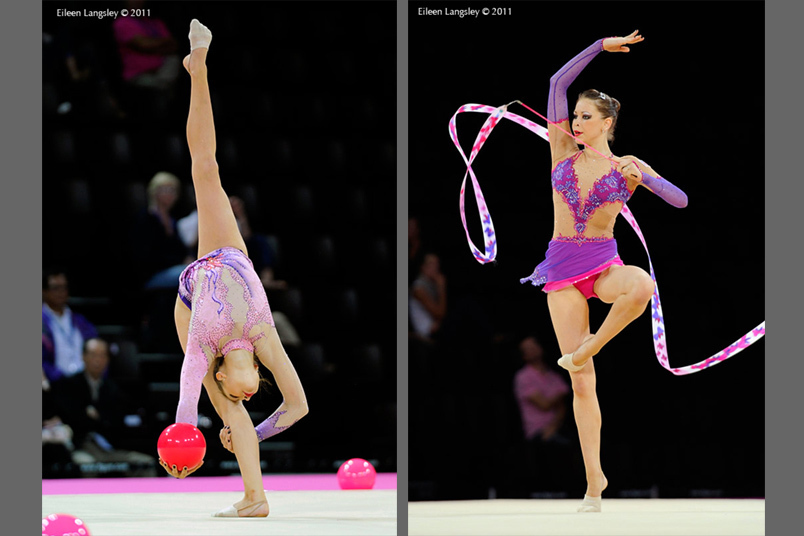 Frankie Jones (great Britain) competing with Ball and Ribbon at the World Rhythmic Gymnastics Championships in Montpellier.