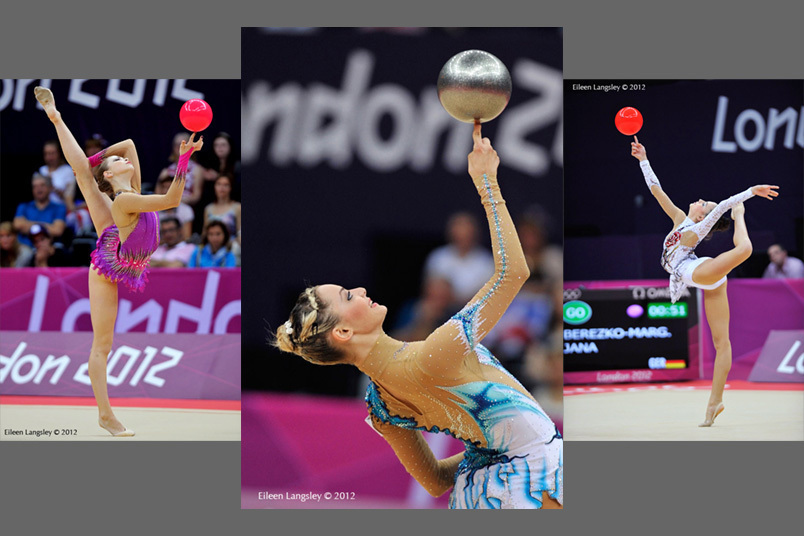Fingertip with the Ball demonstrated by Frankie Jones (Great Britain), Chrystalleni Trikomiti (Cyprus) and Jana Berezko-Marggrander (Germany) during the Rhythmic Gymnastics competition of the London 2012 Olympic Games.