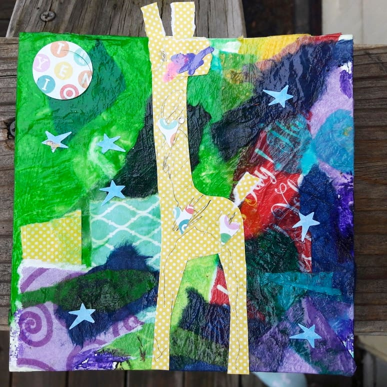 mixed media collage giraffe