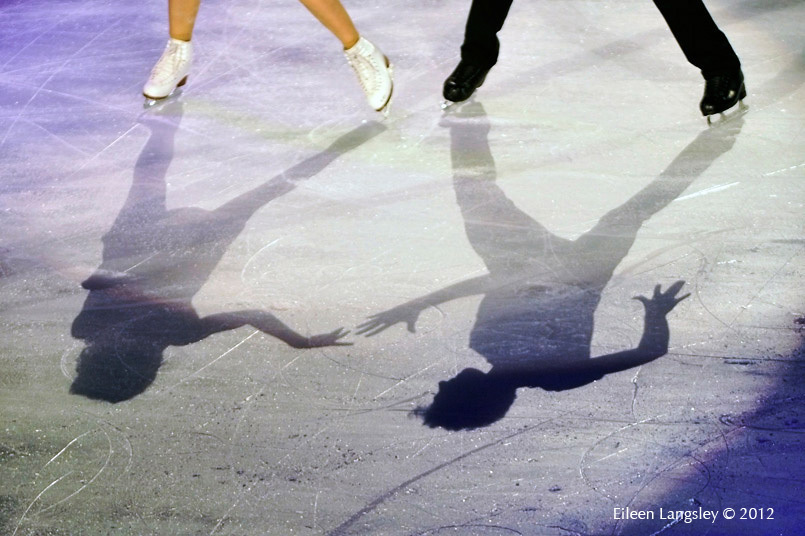 A generic image of the shadows of skaters performing in the Exhibition Gala at the 2012 ISU Grand Prix Trophy Eric Bompard at the Palais Omnisports Bercy