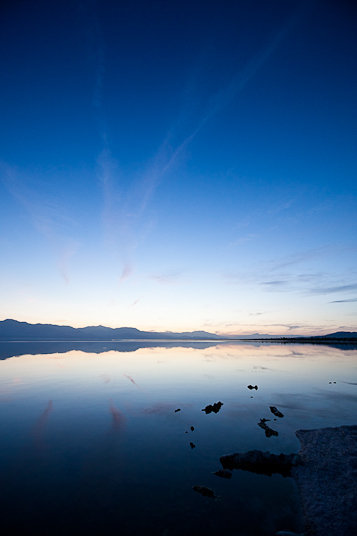 The Salton Sea, California's largest lake, at dusk.