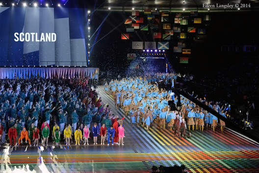 The team from Scotland enter the arena at the Opening Ceremony at the 2014 Glasgow Commonwealth Games .
