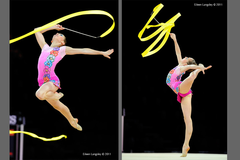 Amy Van Ruuyen (South Africa) competing with Ribbon at the World Rhythmic Gymnastics Championships in Montpellier.