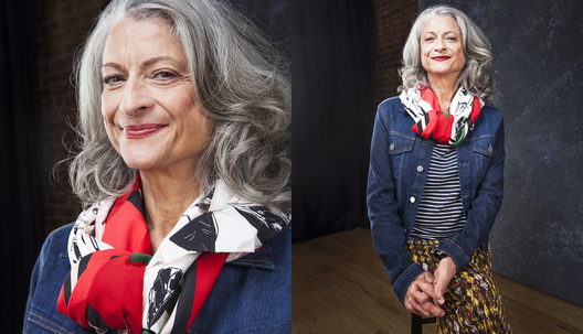 """Scarves, I'm crazy about scarves! Be fearless, try anything, things don't have to match. Mix patterns up. I have a need to express myself, to feel good about myself, to show my best. A scarf makes your look complete."" Janis is wearing a combo of stripes, patterns, denim and silk."